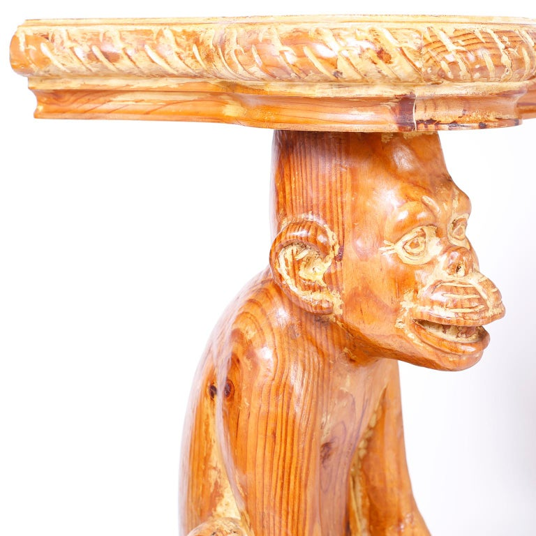 Pine Midcentury Italian Carved Wood Monkey Console For Sale