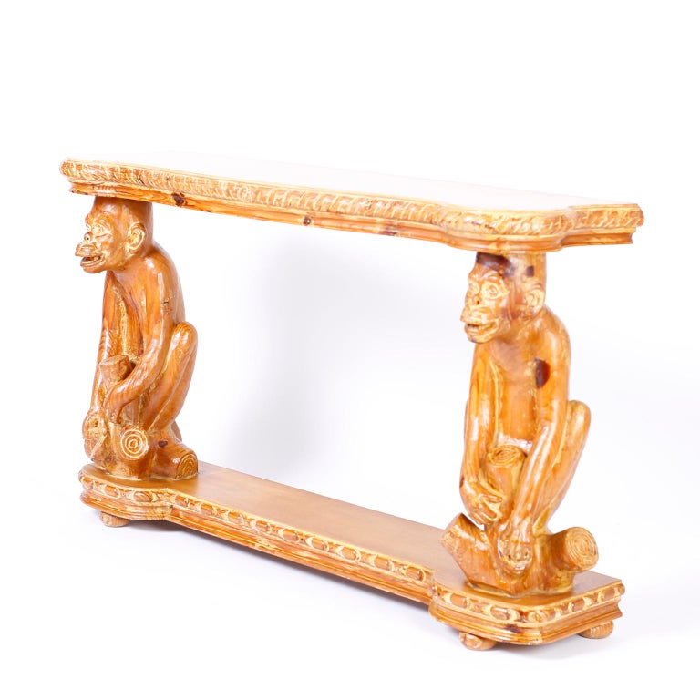 Midcentury Italian Carved Wood Monkey Console For Sale 3