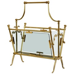 Midcentury Italian Cast Brass and Smoked Glass Magazine Rack or Newspaper Stand