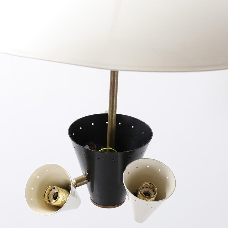 Mid-20th Century Midcentury Italian Ceiling Light in Lacquered Metal with Brass Structure For Sale