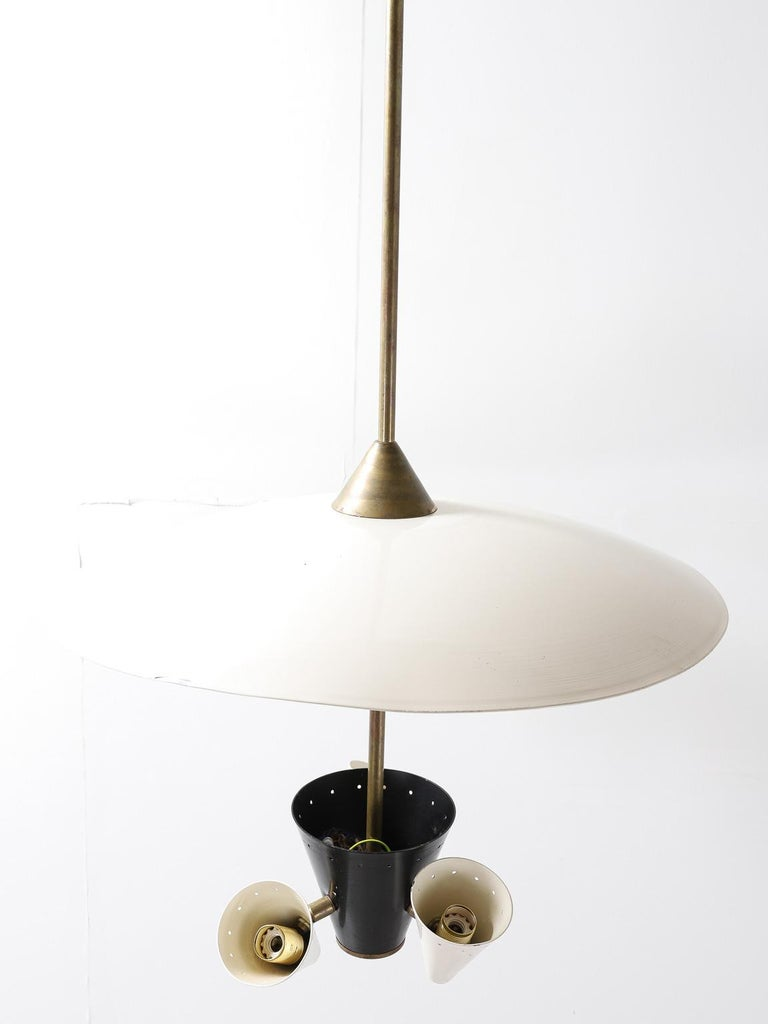 Midcentury Italian Ceiling Light in Lacquered Metal with Brass Structure For Sale 1