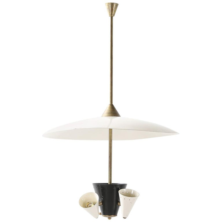 Midcentury Italian Ceiling Light in Lacquered Metal with Brass Structure For Sale