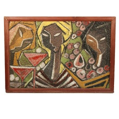 Midcentury Italian Ceramic Mural of Three Cubist Women at a Cocktail Party
