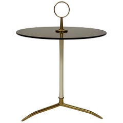 Midcentury Italian Cesare Lacca Side Table in Brass and Smoked Glass, 1955