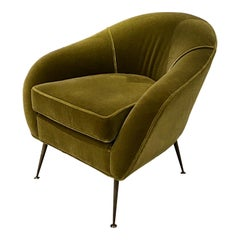 Midcentury Italian Chairs with Mohair Upholstery