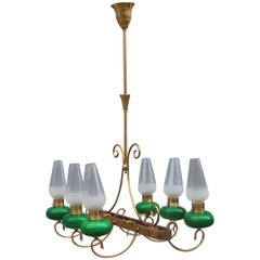 Mid-Century Italian Chandelier Brass Green Glass 1950 Gold Crystal