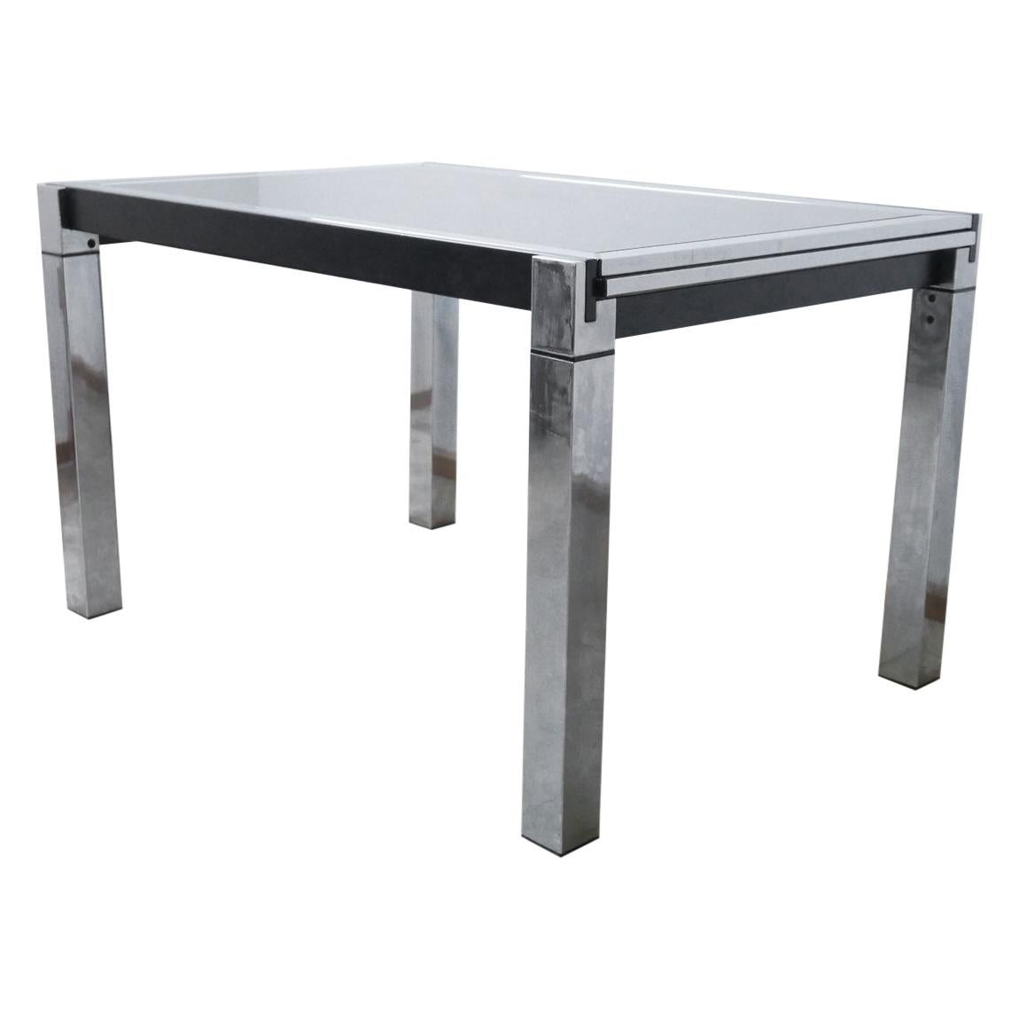 Midcentury Italian Chrome Extendable Dining Table