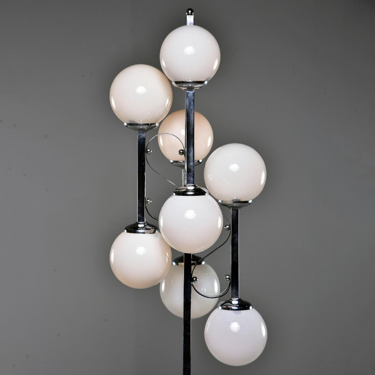 Midcentury Italian Chrome Floor Lamp with White Glass Globes In Good Condition For Sale In Troy, MI