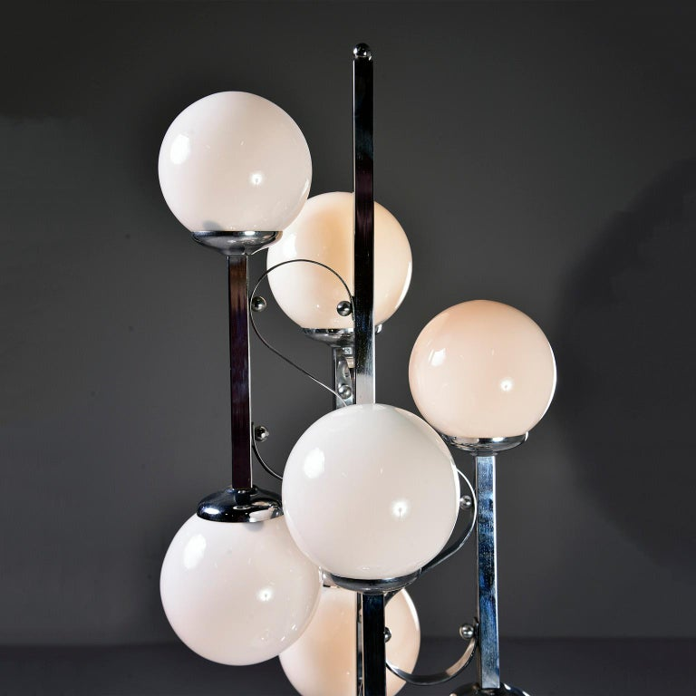 Midcentury Italian Chrome Floor Lamp with White Glass Globes For Sale 1