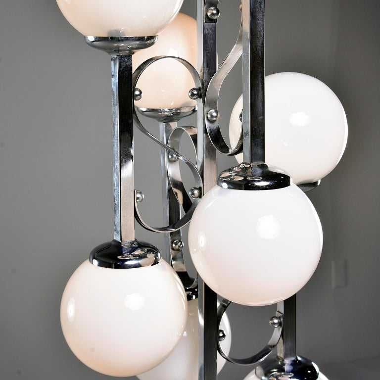 Midcentury Italian Chrome Floor Lamp with White Glass Globes For Sale 2