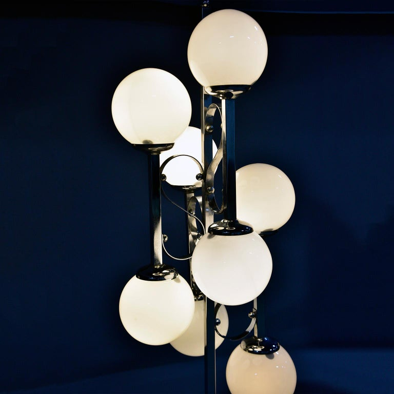 Midcentury Italian Chrome Floor Lamp with White Glass Globes For Sale 4