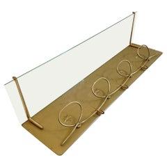 Midcentury Italian Coat Rack with Glass Shelf