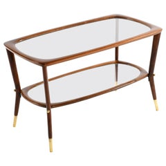 Midcentury Italian Coffee Table with Double Glass Shelf and Brass Details