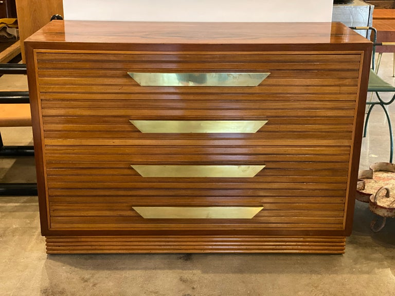Mid-Century Modern Midcentury Italian Commode of Rosewood and Brass For Sale