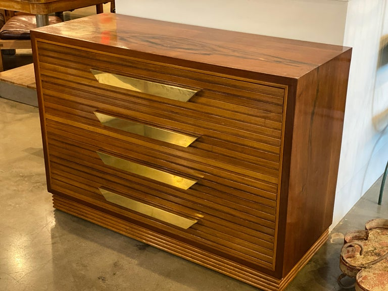 Midcentury Italian Commode of Rosewood and Brass In Good Condition For Sale In Austin, TX
