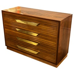 Midcentury Italian Commode of Rosewood and Brass
