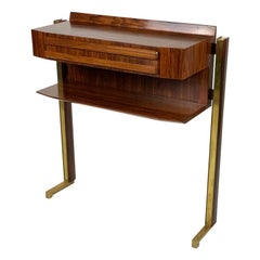 Midcentury Italian Console Brass Details and Drawer