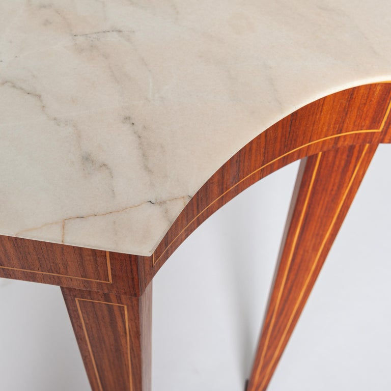 Mid-Century Modern Midcentury Italian Console Table Palisander Wood and Marble Top by Paolo Buffa For Sale