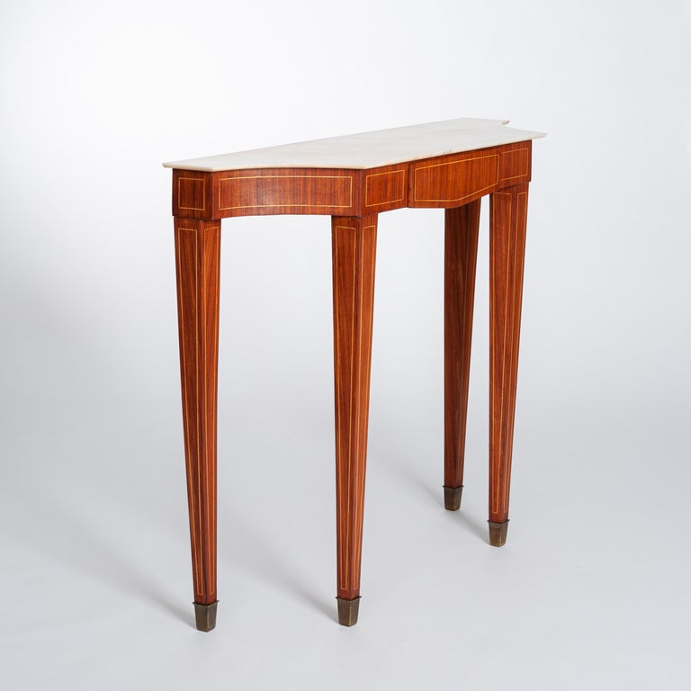 Mid-20th Century Midcentury Italian Console Table Palisander Wood and Marble Top by Paolo Buffa For Sale