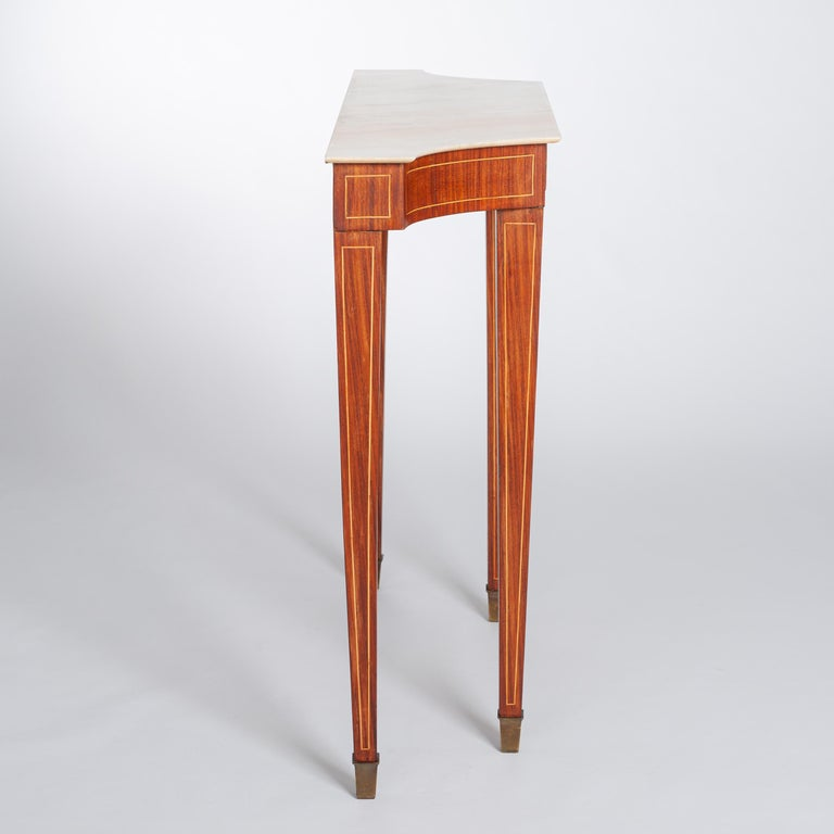 Midcentury Italian Console Table Palisander Wood and Marble Top by Paolo Buffa For Sale 1