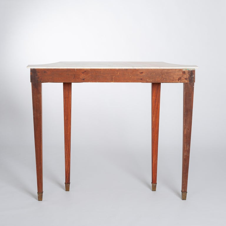 Midcentury Italian Console Table Palisander Wood and Marble Top by Paolo Buffa For Sale 2