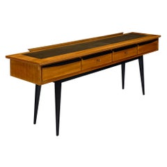 Midcentury Italian Console Table with Leather Top