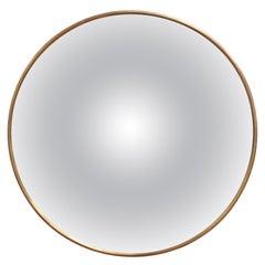 Midcentury Italian Convex Wall Mirror with Brass Frame, circa 1950s