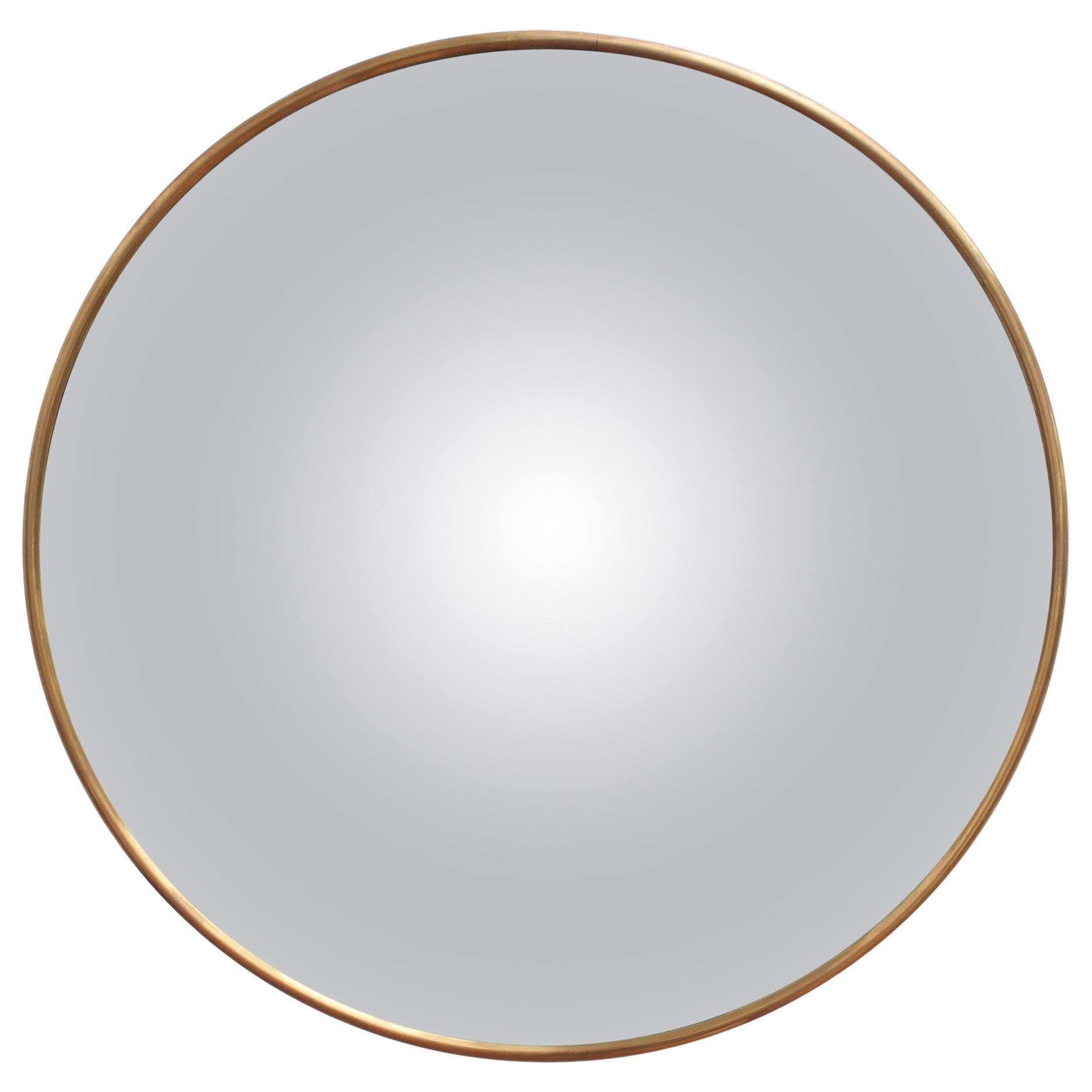 Midcentury Italian Convex Wall Mirror with Brass Frame 'circa 1950s'