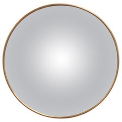 Midcentury Italian Convex Wall Mirror with Brass Frame 'circa 1950s'