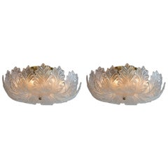 Mid Century Italian Curling Leaf Ceiling Fixtures,  2 Available