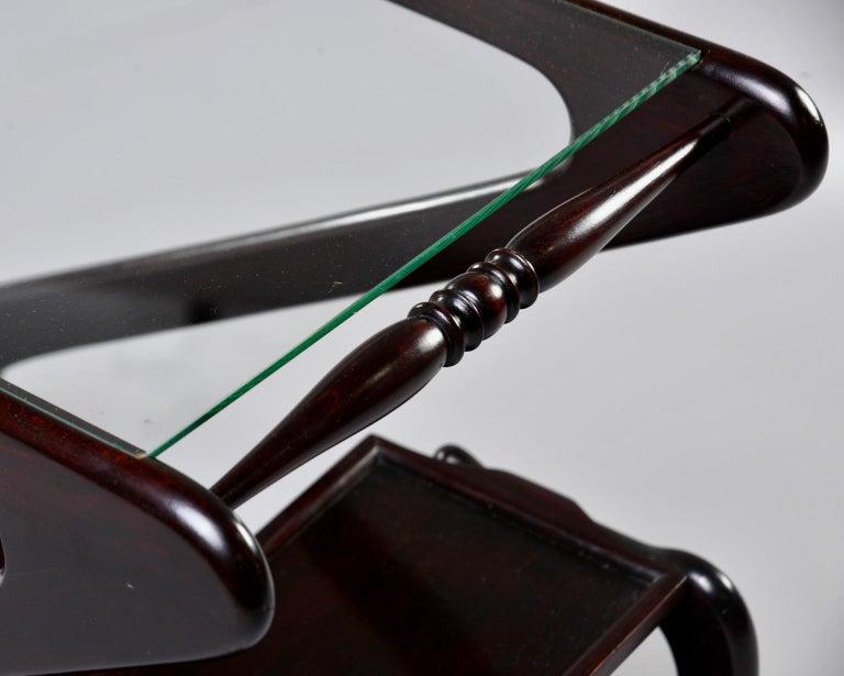 Midcentury Italian Dark Wood Z-Form Italian Drinks Trolley For Sale 4