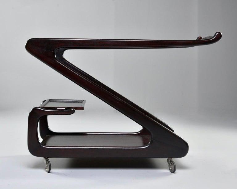 Midcentury Italian Dark Wood Z-Form Italian Drinks Trolley For Sale 2