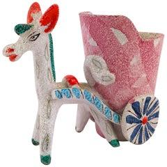 Midcentury Italian Deruta Donkey Ceramic, 1950s