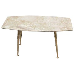 Midcentury Italian Design Coffee Table Octagonal Beige Marble with Gold Brass
