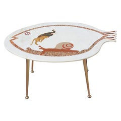 Midcentury Italian Design Coffee Table with Golden Brass Marble Inlaid Fish