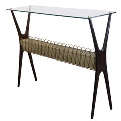 Midcentury Italian Design Console Table with Glass Top, Rosewood, Brass, 1950