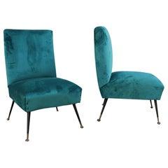 Midcentury Italian Design Small Chairs Gigi Radice for Minotti Green Velvet