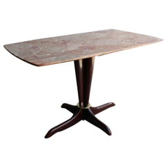 Midcentury Italian Design Table Coffee Mahogany Brass Marble Gold Brown Beige