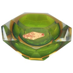 Midcentury Italian Faced Sommerso Green and Yellow Glass Ashtray, 1960s