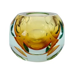 Midcentury Italian Faceted Murano Glass Vase Flavio Poli for Seguso Attributed
