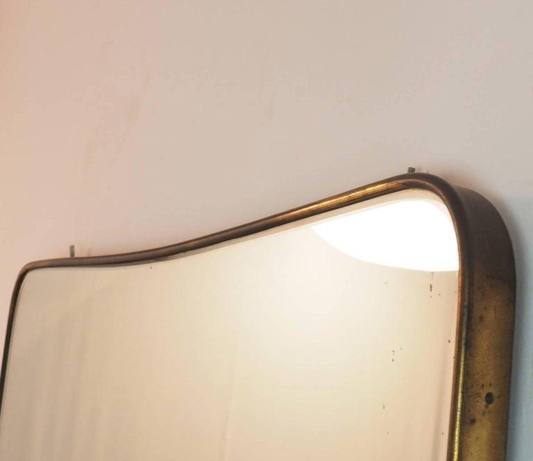 Mid-Century Modern Midcentury Italian Fine large Brass Wall Mirror in Gio Ponti Style, Milano