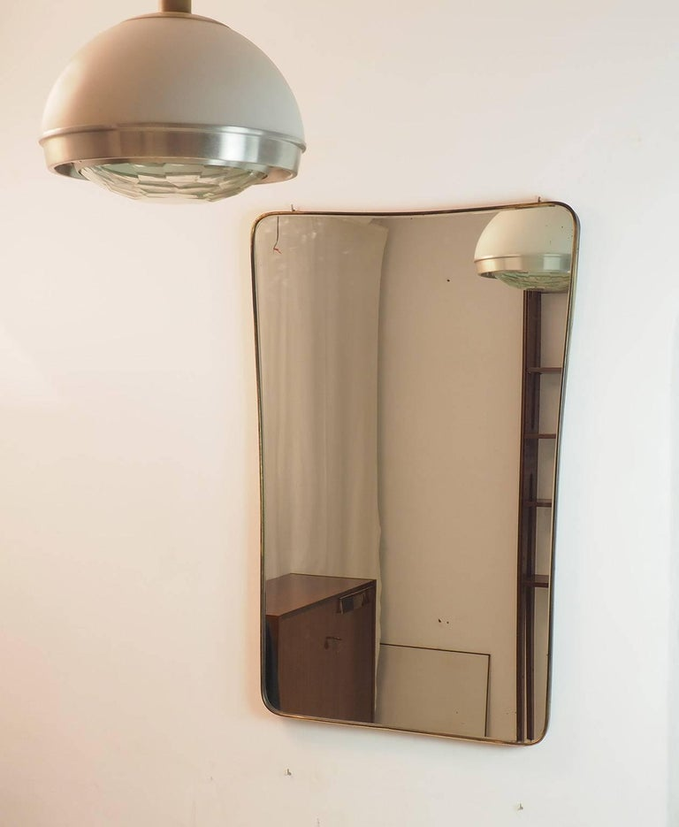 Midcentury Italian Fine large Brass Wall Mirror in Gio Ponti Style, Milano In Good Condition In Milano, IT