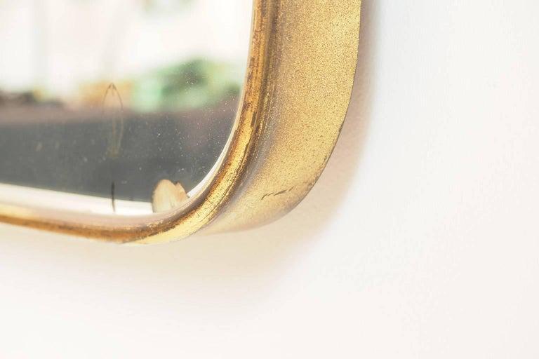 Mid-20th Century Midcentury Italian Fine large Brass Wall Mirror in Gio Ponti Style, Milano