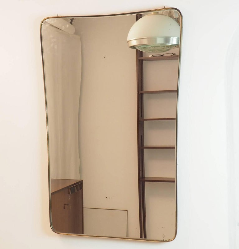 Midcentury Italian Fine large Brass Wall Mirror in Gio Ponti Style, Milano 1