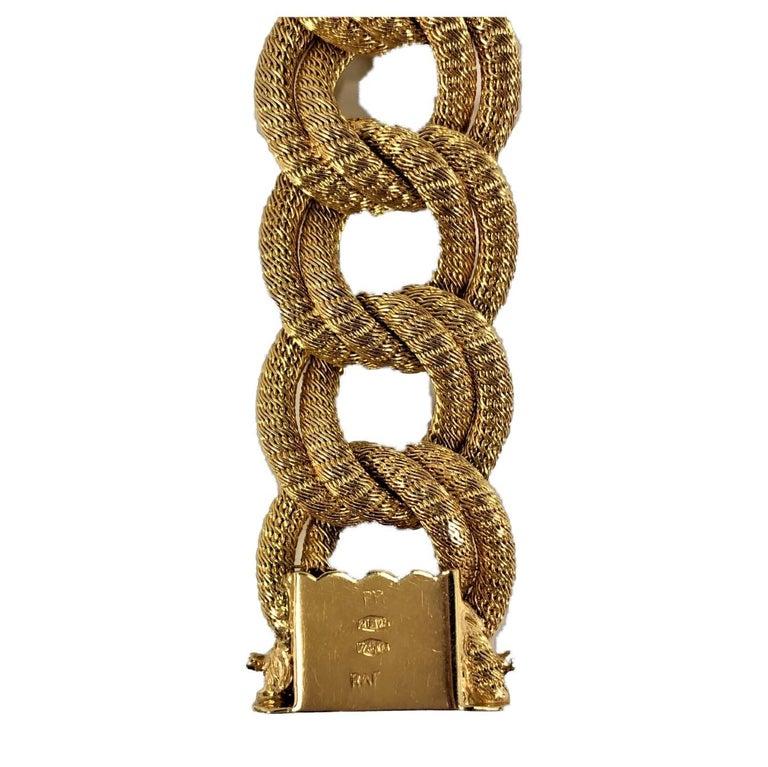 Women's Midcentury Italian Finely Woven Gold Mesh Link Bracelet For Sale