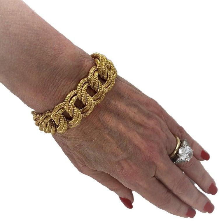 Midcentury Italian Finely Woven Gold Mesh Link Bracelet For Sale 4