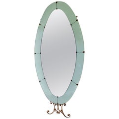 Mid-Century Italian Floor-Standing Mirror with Blue Border, Attributed to Colli