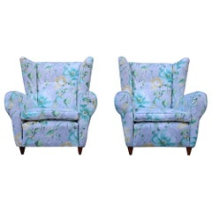 Mid-Century Italian Flowers Pair of Armchairs Paolo Buffa Multicolor Bergeres