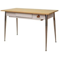 Midcentury Italian Formica Kitchen Pasta Table with Tapered Chrome Legs, 1950