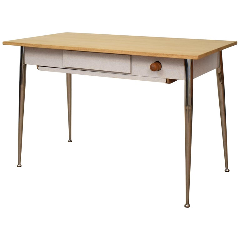 Midcentury Italian Formica Kitchen Pasta Table with Tapered Chrome Legs, 1950 For Sale